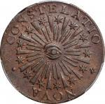 1783 Nova Constellatio Copper. Crosby 3-C, W-1875. Rarity-3. CONSTELATIO, Blunt Rays. AU-58 (PCGS).