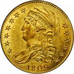 1809/8 Capped Bust Left Half Eagle. BD-1, the only known dies. Rarity-3+. MS-63 (PCGS).