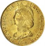 COLOMBIA. 16 Pesos, 1843-UM. Popayan Mint. PCGS MS-61 Gold Shield.