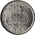 COLOMBIA. 1849/8 10 Reales. Bogotá mint. Restrepo 196.4. MS-63 (PCGS).