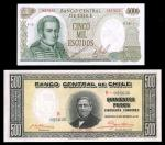 Chile. Banco Central. A group of pre 1960 issues, including 10000 pesos, 1940, 500 pesos, 1935, and