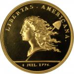 1781 Libertas Americana Medal. Modern Paris Mint Restrike. Gold. 45.86 mm. 64 grams. Proof Deep Came