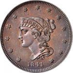 1841 Braided Hair Cent. N-1. Rarity-5. Proof-66 BN (PCGS). CAC.