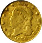 1824 Capped Head Left Half Eagle. BD-1, the only known dies. Rarity-5+. Genuine--Plugged, Damaged (N
