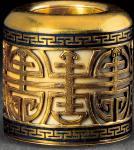 金质珐琅彩镂空寿字纹扳指