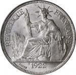 1922-A年坐洋一圆银币 FRENCH INDO-CHINA. Piastre, 1922-H. Heaton Mint. PCGS MS-63 Gold Shield.