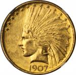 1907 Indian Eagle. No Periods. MS-62 (NGC).