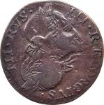 1771 Contemporary Counterfeit English Halfpenny. George III Type. Spike Chin Family. Dies 1-LDS-Aa.