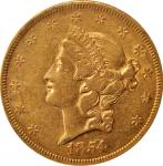 1854 Liberty Head Double Eagle. Small Date. AU-53 (NGC).