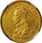 GERMANY. Prussia. Frederick dOr, 1822-A. Berlin Mint. Friedrich Wilhelm III. NGC AU-58.