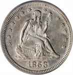 1853 Liberty Seated Quarter. No Arrows or Rays. Briggs 1-A, FS-301. Repunched Date. AU-50 (PCGS).