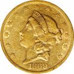 1869 Liberty Head Double Eagle. EF-40 (PCGS). CAC.