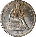 1870 Liberty Seated Silver Dollar. OC-2. Rarity-3-. Doubled Die Reverse. MS-62 (NGC).