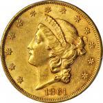 1861 Liberty Head Double Eagle. AU-58 (PCGS).
