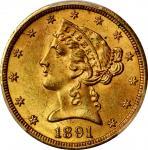1891-CC Liberty Head Half Eagle. Winter 1-A. MS-63+ (PCGS). CAC.