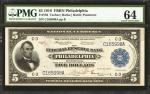 Fr. 783. 1918 $5 Federal Reserve Bank Note. Philadelphia. PMG Choice Uncirculated 64.