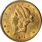 1891-S Liberty Head Double Eagle. MS-61 (PCGS).