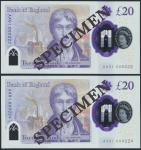 Bank of England, Sarah John, polymer £20, ND (20 February 2020), serial number AA01 000222/224, purp