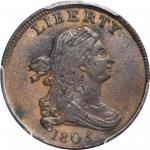1805 Draped Bust Half Cent. C-2. Rarity-5. Small 5, Stems to Wreath. EF-40 (PCGS).