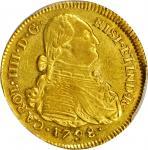 COLOMBIA. 1798-JF 4 Escudos. Popayán mint. Carlos IV (1788-1808). Restrepo M94.10. AU-53 (PCGS).