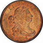 1804 Draped Bust Half Cent. Cohen-13, Breen-10. Rarity-1. Plain 4, No Stems. Mint State-64+ RD (PCGS