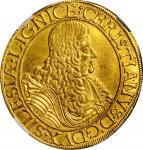 GERMANY. Silesia-Liegnitz-Brieg. 5 Ducats, 1666 CBS. Brieg Mint, Mint Master Christoph Bretschneider