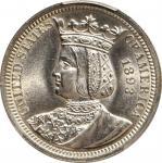 1893 Isabella Quarter. Unc Details--Cleaned (PCGS).
