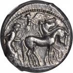 SICILY. Syracuse. Deinomenid Tyranny, 485-466 B.C. AR Tetradrachm (17.58 gms), ca. 482-480 B.C. NGC