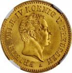 GERMANY. Prussia. Frederick dOr, 1850-A. Berlin Mint. Friedrich Wilhelm IV. NGC MS-64.