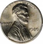 1980 Lincoln Cent--Struck on a Copper-Nickel Clad Dime Planchet--MS-65 (PCGS).