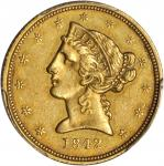 1842-D Liberty Half Eagle. Small Date. AU-53 (PCGS). CAC.