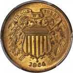 1864 Two-Cent Piece. Large Motto. MS-66 RB (PCGS). CAC.
