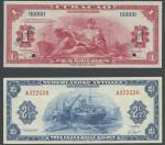 Netherlands Antilles and Curacao Muntbiljet 1 Gulden, 2 1/2 Gulden (2), 100 Gulden; 1942, 1955, 196