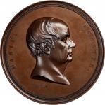 Undated (ca. 1860) Daniel Webster Medal. Bronzed Copper. 76.5 mm. Julian PE-37, var. Mint State.