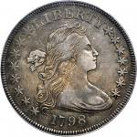 1798 Draped Bust Silver Dollar. Small Eagle. BB-81, B-2. Rarity-3. 15 Stars on Obverse. AU-50 (PCGS)