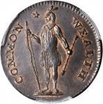 1787 Massachusetts Cent. Ryder 3-G, W-6090. Rarity-3-. Arrows in Left Talon. MS-65 BN (PCGS). CAC.