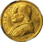 ITALY. Papal States. 20 Lire, 1867-R Year XXII. Rome Mint. Pius IX. NGC MS-64.