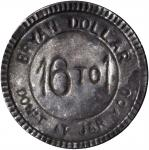 Undated Anti-Bryan Dollar. Tinned Steel. 26.1 mm. Schornstein-910, Zerbe-136. Extremely Fine.