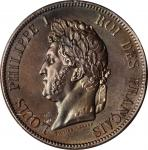 FRENCH COLONIES. 10 Centimes, 1843-A. Paris Mint. Louis Philippe I. NGC MS-66 Brown.
