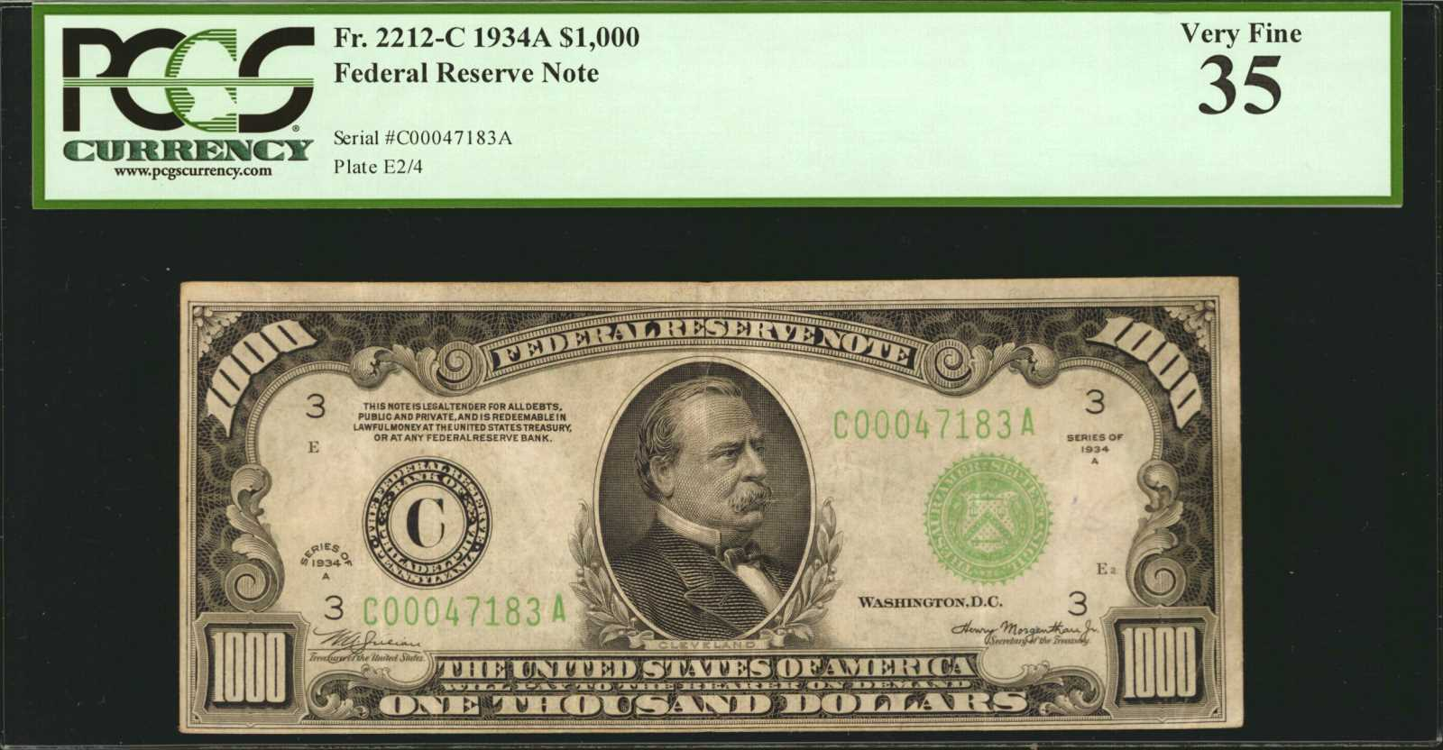 Fr  2212-C  1934A $1,000 Federal Reserve Note  Philadelphia