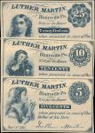 Blairsville, Pennsylvania. Luther Martin. Jan. 1, 1863. Lot of (3) Notes. 5 Cents, 10 Cents & 25 Cen