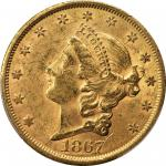 1867-S Liberty Head Double Eagle. AU-58+ (PCGS). CAC.
