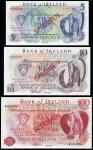 Bank of Ireland, specimen 」5, 」10 and 」100, ND (1977-81), blue brown and red, Hibernia at right, ONe