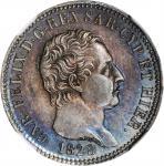 ITALY. Sardinia. Lira, 1828-P. Genoa Mint; mm: anchor. Carlo Felice. NGC MS-63.