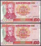Bank of Scotland, £100 (2), 1999, 2006, prefixes AA 550012 and AB 400052, red and multicoloured, Sir