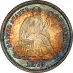 1879 Liberty Seated Dime. Fortin-104a. Rarity-4. Repunched Date. MS-67 (PCGS).