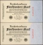 GERMANY. Lot of (2) Reichsbank. 500 Mark, 1922. P-74a. Uncirculated.