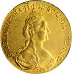 RUSSIA. 10 Rubles, 1778-CNB. St. Petersburg Mint. Catherine II (The Great). PCGS AU-58 Gold Shield.