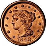 1848 Braided Hair Cent. N-9. Rarity-1. MS-65 RD (PCGS).