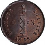 HAITI. 6-1/4 Centimes, 1846 / Year 43. Paris Mint. NGC MS-65 Brown.